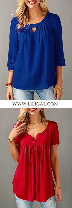 These two blouses fit for most body shapes, and I love the blue and red color! : These two blouses fit for most body shapes, and I love the blue and red color! Cool Outfits, Casual Outfits, Fashion Outfits, Womens Fashion, Fashion Ideas, Sewing Dresses For Women, Dress Sewing, Fit Women Bodies, Womens Trendy Tops