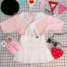 Daddykink - Photos - inocent and hot Harajuku Fashion, Kawaii Fashion, Cute Fashion, Fashion Outfits, Cute Casual Outfits, Pretty Outfits, Japanese Fashion, Korean Fashion, Pastel Outfit