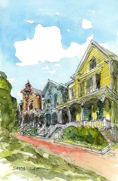 Savannah Victorian Homes Art Print From An Original By AndreVoyy