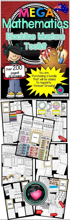 """Math Bundle of templates and Blackline Masters Toolkit! All grades Are you constantly looking for a certain """"Black line Master"""" to compliment a Math lesson? Do you spend time flicking through books for that template you know you have or scroll the interne Primary Classroom, School Classroom, Classroom Activities, School Fun, Classroom Decor, High School, Visible Learning, Learning Support, Learning Goals"""