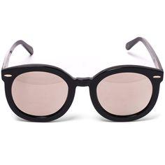 Karen Walker Black Superstars Super Duper Strength Sunglasses ($280) ❤ liked on Polyvore featuring accessories, eyewear, sunglasses, black lens sunglasses, black sunglasses, mirrored sunglasses, circle sunglasses and oversized round sunglasses