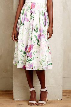 Hibiscus Pleated Midi Skirt #anthropologie