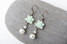Mint rose earrings, Mint bridesmaid earrings, vintage style earrings, mint and ivory pearl, shabby chic earrings, mint wedding jewelry