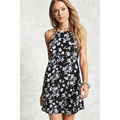 Forever21 Floral Cutout Back Mini Dress ($10) ❤ liked on Polyvore featuring dresses, black, high neck dress, high-neck camisoles, mini dress, short dresses and rayon dress