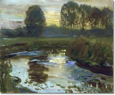 Alfred J Munnings - AJM - Evening at Hoxne 1909 - 20 x 24 original size in inches Painting