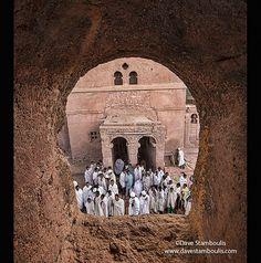 pilgrims at mass at Bet Maryam rock hewn church in Lalibela, Ethiopia