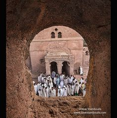 pilgrims at mass at Bet Maryam rock hewn church in Lalibela, Ethiopia
