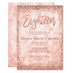 Rose Gold Faux Glitter Lights Birthday Invitation Celebrate in style with this modern birthday invitation, featuring a sparkle lights background with a faux rose gold glitter border. Designs are flat printed illustrations/graphics - NOT ACTUAL GLITTER. Debut Invitation 18th, Card Invitation, Gold Invitations, Birthday Invitation Templates, Birthday Party Invitations, 18th Debut Theme, 18th Debut Ideas, Debut Themes, Trash To Couture