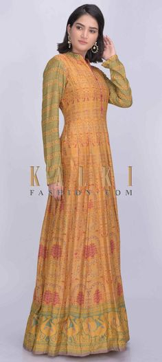 Buy Online from the link below. We ship worldwide (Free Shipping over US$100)  Click Anywhere to Tag Tuscany yellow colored cotton silk anarkali suit with patola print only on Kalki Tuscany yellow colored cotton silk anarkali suit with patola print.Crafted with mandarin collar, front buttons and full sleeves.