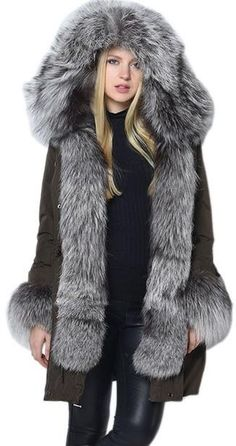 Thick Silver Fox Fur Trimmed Down Coat in Army Green or Black