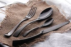 NEW BlACK 4 Sets Tableware Cutlery 4 Differnet Dinner Knife Fork Spoon Tea Spoon 304 Stainless Steel Cutlery Set(China (Mainland)) Black Cutlery, Gold Flatware, Flatware Set, Stainless Steel Cutlery, Western Food, Knife And Fork, Steak Knives, Gifts For Mom