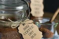 BBQ Coffee Dry Rub is the perfect rub for kicking up your chicken, beef or pork. It infuses your taste buds with a sweet slightly nutty flavor and can be kicked up with some heat if you double up on the cayenne pepper Food Gifts For Men, Diy Food Gifts, Jar Gifts, Dry Rub Recipes, Rib Recipes, Smoker Recipes, Sauce Recipes, Traeger Recipes, Yummy Recipes