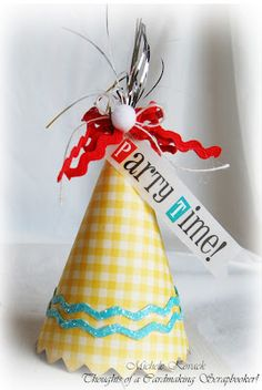 "@Michele Kovac created this adorable party hat with the ""Party Time"" sticker on SRM's We've Got Your Invite Birthday design available on www.srmpress.com"