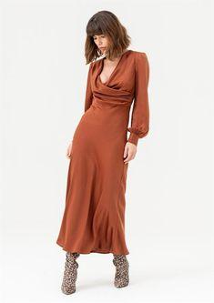 Fashion Capsule, Fashion Outfits, Style Fashion, Draped Dress, Dress Up, High Neck Shirts, Burnt Orange Dress, Wrap Dress Floral, Dresses With Sleeves