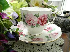 Crown Staffordshire Teacup Tea Cup and Saucer by TheVintageTeacup, etsy