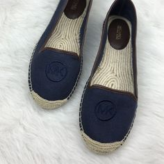 Michael Kors navy blue MK logo espadrilles flats Brand new with the stickers on the bottom. Size 9.5 & 10. These authentic Michael Kors flats are perfect for this summer. Casual and chic! Michael Kors Shoes Espadrilles