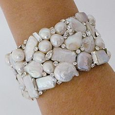 Pearl Cuff Crystal Accents designed by Erin Cole. This piece is amazing. Each … - Pearl Jewelry Pearl Jewelry, Wedding Jewelry, Jewelery, Wedding Bracelets, Jewelry Necklaces, Pearl Rings, Chunky Jewelry, Pearl Necklaces, Bridal Bracelet