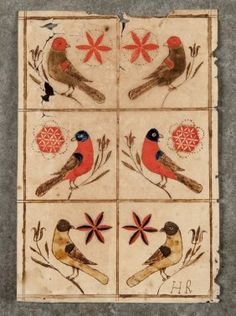 great rug idea Pennsylvania watercolor fraktur, early c., with six birds perched on tulip branches, 7 x Primitive Folk Art, Primitive Stitchery, Primitive Patterns, Primitive Snowmen, Primitive Crafts, Primitive Christmas, Country Christmas, Wood Crafts, German Folk