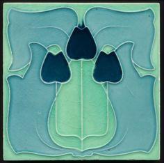 All Blues Art Nouveau Balloon Tulips Majolica Tile c 1905 Art Nouveau Pattern, Victorian Tiles, Psychedelic Colors, Art Nouveau Tiles, Artistic Tile, Art Nouveau Architecture, Tile Projects, Vintage Tile, Art Nouveau Jewelry