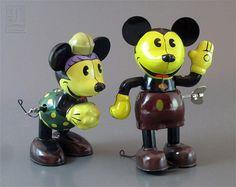 retro styled MICKEY  MINNIE MOUSE tin wind-ups