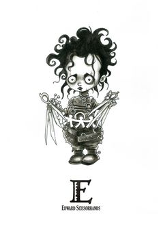 E is for Edward Scissorhands - Tiny Creatures Alphabet (by David G. Forés) - Original drawing for sale: www.untipoilustrado.com/shop Gothic Drawings, Dark Art Drawings, Horror Cartoon, Horror Art, Horror Movies, Halloween Horror, Halloween Art, Halloween Stencils, Scary Movie Characters
