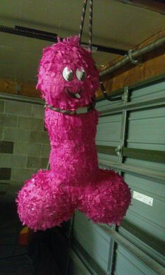 Penis Pinata - time consuming to make, but it had the desired result for a hens party. Sorry about the crass way it was hung LOL. Filled it with fun adult items ;p