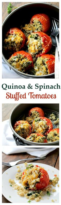 Quinoa and Spinach Stuffed Tomatoes | www.diethood.com | Baked tomatoes stuffed with a quinoa-spinach mixture and topped with a variety of cheeses.