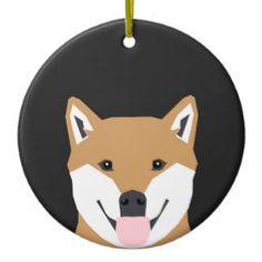 Indiana - Shiba Inu Dog Portrait Christmas Tree Ornament
