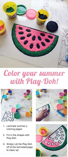 Color your summer with Play-Doh compound! 1) Laminate summer-y coloring pages. 2) Fill in the shapes with Play-Doh compound. 3) Simply rub the Play-Doh compound off of the laminated page to clean up!