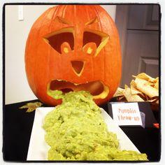 "My version of ""pumpkin throw up"" guacamole dip! Very fun!"