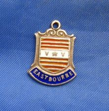 Vintage Sterling Silver Enamel Travel Shield Charm EAST BOURNE (England)