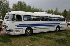 white and blue bus Bus Camper, Bus Motorhome, Campers, Bus Und Bahn, Bus City, Converted Bus, Old School Vans, Train Truck, Wheels On The Bus