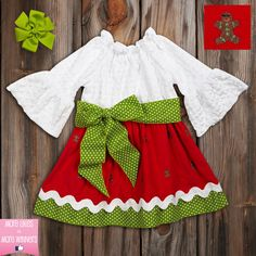 Lime Dot Red Corduroy Gingerbread Dress
