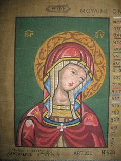 Greek Cross Stitch Pattern from Greece Panayia Virgin Mary Bambekepon 100 | eBay