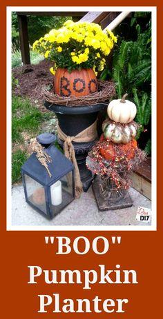 Pumpkin Decorations  Boo Pumpkin Planter