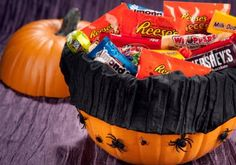 DIY Hershey's Trick-or-Treat Pumpkin.. uses foam pumpkin from the craft store