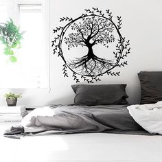 Tree Wall Decals Vinyl Sticker Decal Yoga Studio Gym Decor Home Heart Art Window Interior Design Murals Ah139