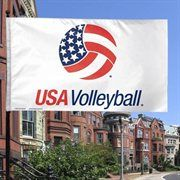 USA Volleyball 3' x 5' Logo One-Sided Flag - White