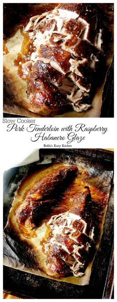 Slow Cooker Pork Tenderloin with Raspberry Habanero Glaze - moist and tender with tons of sweet and spicy flavor!   cupcakesandkalechips.com