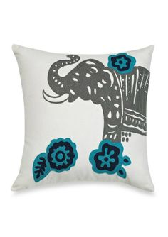 """VUE BY ELLERY Coriander 16"""" Embroidered Elephant Decorative Pillow"""