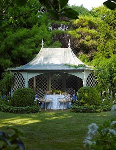 The best ideas in outdoor spaces for luxury homes. Dining on a patio or in a pergola or a gazebo these spaces create privacy and elegance in your backyard. Garden Buildings, Garden Structures, Outdoor Structures, Garden Houses, Garden Cottage, Backyard Pavilion, Pergola Garden, Garden Landscaping, Outdoor Pavilion