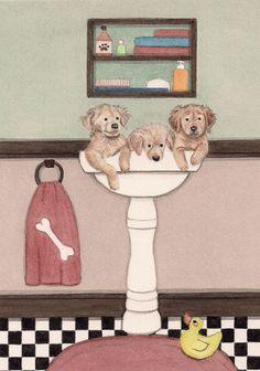 Golden retriever puppies fill sink at bath time / Lynch folk art print