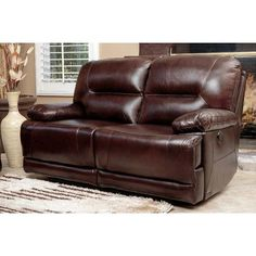 Abbyson Living Brownstone Leather Power Reclining Loveseat