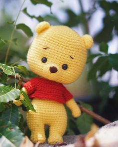 Toys Patterns amigurumi english Pooh Crochet Pattern (Winnie the Pooh) Disney Crochet Patterns, Crochet Bunny Pattern, Crochet Animal Patterns, Crochet Bear, Stuffed Animal Patterns, Crochet Patterns Amigurumi, Crochet Animals, Softie Pattern, Crochet Kawaii