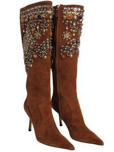 Oscar de la Renta Bejeweled Suede Boots | From a collection of rare vintage shoes at https://www.1stdibs.com/fashion/accessories/shoes/
