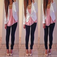 Cute skinny jean with pink top and white blazer outfit. White Blazer Outfits, Casual Work Outfits, Classy Outfits, Outfits For Teens, Dress Outfits, Winter Outfits, Summer Outfits, Cute Outfits, Winter Clothes