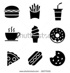 Find Simple Black and White Fast Food Icons - Vector stock vectors and royalty free photos in HD. Explore millions of stock photos, images, illustrations, and vectors in the Shutterstock creative collection. of new pictures added daily. Lyon, Burger Icon, Black And White Google, Black White, Fast Food, Food Icons, Booth Design, Food Illustrations, New Pictures