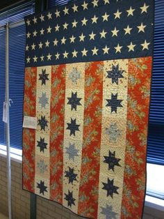 American Flag quilt with florals