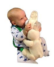 Hands-Free Bottle Holder for DAD when he's on baby duty watching the game, driving or needs a hand. Includes a built-in bottle warmer w/ the calm and comfort of a soothing stuffed animal. A form of Green Technology that happens to be Energy Star® rated. This bottle warmer allows parents to warm the bottle through a car's cigarette adapter. The bottle warmer has a temperature cut-off fuse, which never allows the contents of the bottle to overheat. Kid-tested/parent-approved. $29.95