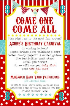 SimplyCumorah Carnival Party Behind The Scenes Invitations Themed